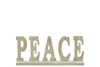 "UTC46044 Wood Alphabet Decor ""PEACE"" on Base Washed Finish Tan"