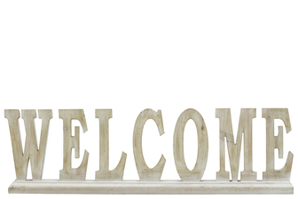 "UTC46046 Wood Alphabet Decor ""WELCOME"" on Base Washed Finish Tan"