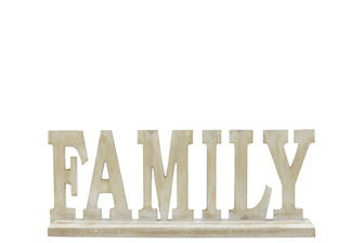 "UTC46048 Wood Alphabet Decor ""FAMILY"" on Base Washed Finish Tan"