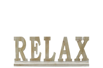 "UTC46050 Wood Alphabet Decor ""RELAX"" on Base Washed Finish Tan"