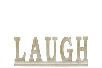 "UTC46052 Wood Alphabet Decor ""LAUGH"" on Base Washed Finish Tan"