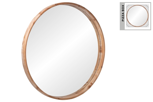 UTC46054 Wood Round Wall Mirror Frame with Box Natural Finish Brown