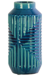 UTC46304 Ceramic Tall Cylindrical Vase with Interesecting Lines Design Body Coated Finish Royal Blue