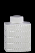 UTC46312 Ceramic Rectangle 104 oz. Jar with Lid and Embossed Oval Patterns Design Body Gloss Finish White