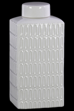 UTC46313 Ceramic Rectangle 160 oz. Tall Jar with Lid and Embossed Oval Patterns Design Body Gloss Finish White