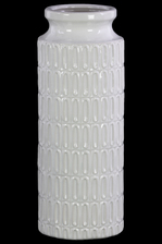 UTC46314 Ceramic Tall Round Vase with Wide Mouth, Short Neck and Embossed Banded Oval Pattern Design Body Gloss Finish White