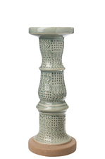 UTC46347 Ceramic Pillar Candle Holder with Tribal Pattern Design Body on Tan Rough Base MD Gloss Finish Sage