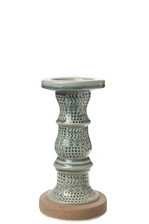 UTC46348 Ceramic Pillar Candle Holder with Tribal Pattern Design Body on Tan Rough Base SM Gloss Finish Sage