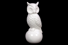 UTC46605 Ceramic Owl Figurine on Ball Base Gloss Finish White