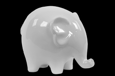 UTC46613 Ceramic Standing Elephant Figurine with Short Legs LG Gloss Finish White