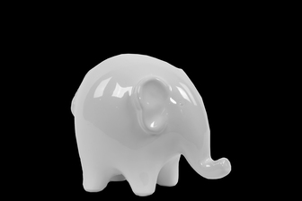 UTC46614 Ceramic Standing Elephant Figurine SM Gloss Finish White