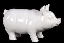 UTC46620 Ceramic Standing Pig Figurine LG Gloss Figurine Gloss Finish White