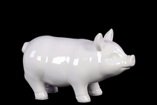 UTC46621 Ceramic Standing Pig Figurine SM Gloss Finish White