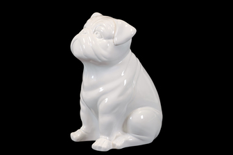 UTC46640 Ceramic Sitting British Bulldog Figurine Gloss Finish White