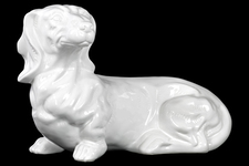 UTC46644 Ceramic Laying Basset Hound Dog Figurine Gloss Finish White