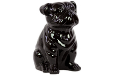 UTC46649 Ceramic Sitting British Bulldog Figurine Gloss Finish Black