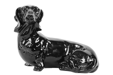 UTC46652 Ceramic Laying Basset Hound Dog Figurine Gloss Finish Black