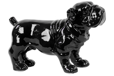UTC46654 Ceramic Standing Bulldog Figurine Gloss Finish Black