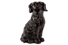 UTC46667 Ceramic Sitting Retriever Dog Figurine Gloss Finish Black