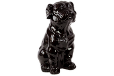 UTC46669 Ceramic Sitting Bulldog Figurine Gloss Finish Black