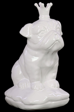 UTC46724 Ceramic Sitting British Bulldog Figurine with 5 Spiked Crown on Cushion Base Gloss Finish White