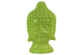 UTC46748 Ceramic Buddha Head with Rounded Ushnisha Gloss Finish Yellow Green