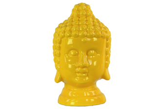 UTC46749 Ceramic Buddha Head with Rounded Ushnisha Gloss Finish Yellow