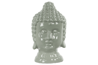 UTC46751 Ceramic Buddha Head with Rounded Ushnisha Gloss Finish Gray