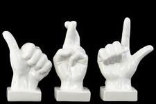 UTC46789-AST Ceramic Hand Sign (Thumb Up/Fingers Crossed/Loser) Sculpture with Base Assortment of Three Gloss Finish White