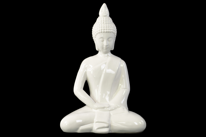 UTC46794 Ceramic Meditating Buddha with Pointed Ushnisha in Dhyana Mudra Figurine Gloss Finish White