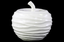 UTC46887 Ceramic Apple Figurine with Embossed Wave Surface LG Gloss Finish White