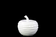 UTC46888 Ceramic Apple Figurine with Embossed Wave Surface SM Gloss Finish White