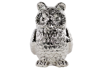 UTC46919 Ceramic Standing Owl Figurine Polished Chrome Finish Silver