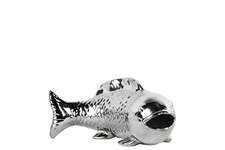 UTC46927 Ceramic Bowfin Fish Figurine Polished Chrome Finish Silver