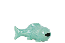 UTC46959 Ceramic Fish Figurine with Mouth Open Distressed Gloss Finish Teal