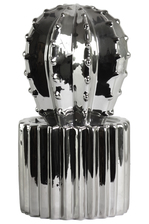 UTC47002 Ceramic Star Cactus Figurine on Ribbed Pot LG Polished Chrome Finish Silver