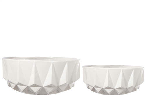 UTC50095 Ceramic Round Bowl with Molded Spike Design Body Set of Two Gloss Finish White