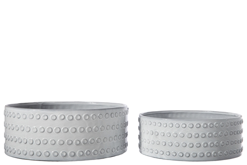 UTC50096 Ceramic Round Bowl with Embossed Bubble Banded Pattern Design Body Set of Two Gloss Finish Gray Wash