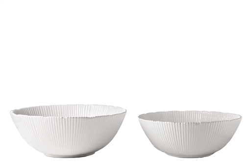 UTC50098 Ceramic Round Bowl with Uneven Edges, Vertical Line Pattern and Tapered Bottom Set of Two Gloss Finish White