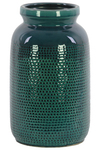 UTC50140 Ceramic Cylindrical Vase with Trumpet Mouth and, Perforated and Washed Design Body LG Gloss Finish Turquoise
