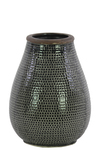 UTC50143 Ceramic Bellied Round Vase with Dimpled Design Body and Tapered Bottom SM Washed Finish Gray