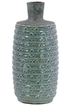 UTC50144 Ceramic Bottle Vase with Short Neck and Engraved Bubble Design Body LG Coated Finish Turquoise