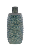 UTC50145 Ceramic Bottle Vase with Short Neck and Engraved Bubble Design Body SM Coated Finish Turquoise