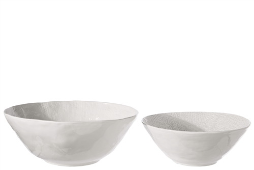 UTC50200 Ceramic Round Bowl with Uneven Design Body Set of Two Gloss Finish White