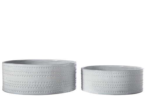 UTC50201 Ceramic Round Bowl with Embossed Bubble Banded Pattern Design Body Set of Two Gloss Finish Gray Wash