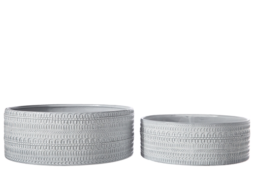 UTC50202 Ceramic Round Bowl with Embossed Tribal Pattern Design Body Set of Two Gloss Finish Gray Wash
