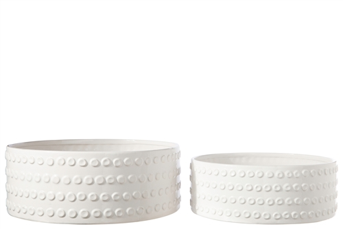 UTC50203 Ceramic Round Bowl with Embossed Bubble Banded Pattern Design Body Set of Two Gloss Finish White