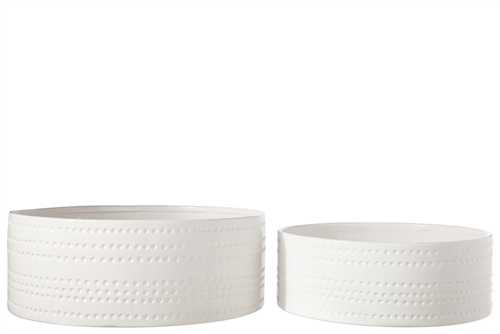 UTC50204 Ceramic Round Bowl with Embossed Bubble Banded Pattern Design Body Set of Two Gloss Finish White