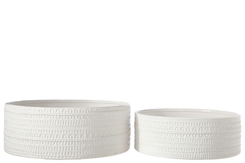 UTC50205 Ceramic Round Bowl with Embossed Tribal Pattern Design Body Set of Two Gloss Finish White