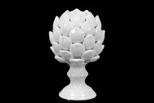 UTC50502 Porcelain Artichoke Figurine on a Pedestal LG Gloss Finish White